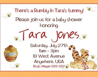 Winnie the Pooh Baby Shower Invitations, Printable Photo Card, Digital File