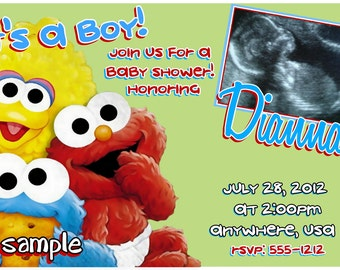 Sesame Street Baby Shower Invitations FREE SHIPPING