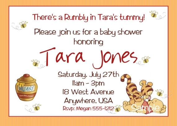 winnie the pooh baby shower invitations printable photo card, Wedding invitations