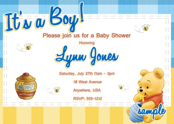 winnie the pooh baby shower invitations printable photo card digital