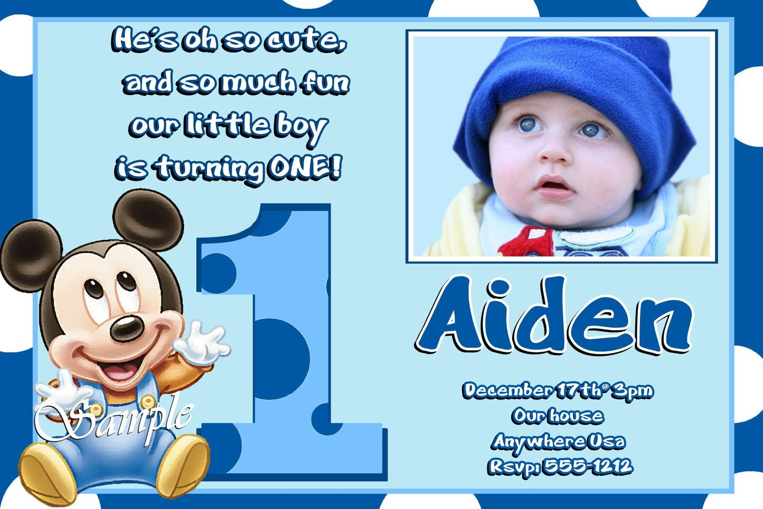 Mickey Mouse 1st Birthday Invitations Baby Mickey Mouse 1st – Invitation for First Birthday Party