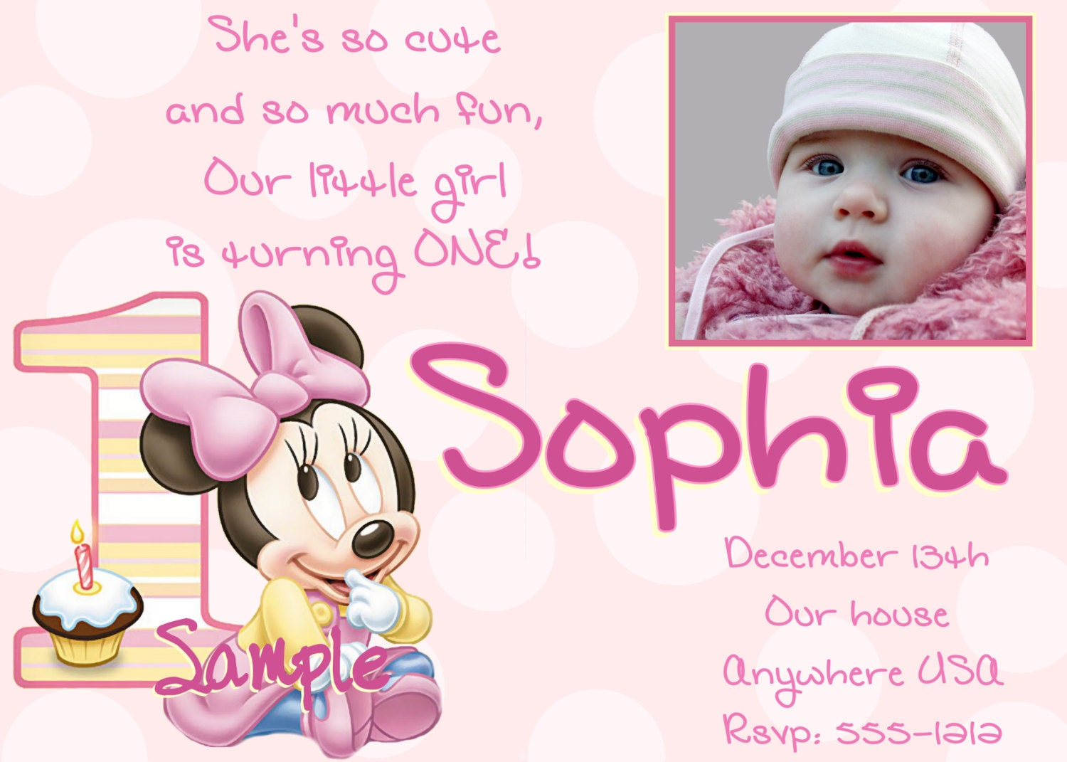 minnie mouse 1st birthday invitations printable digital file