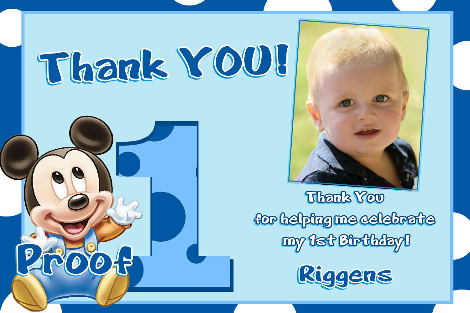 Mickey Mouse 1st Birthday Thank You Cards – 1st Birthday Thank You Cards