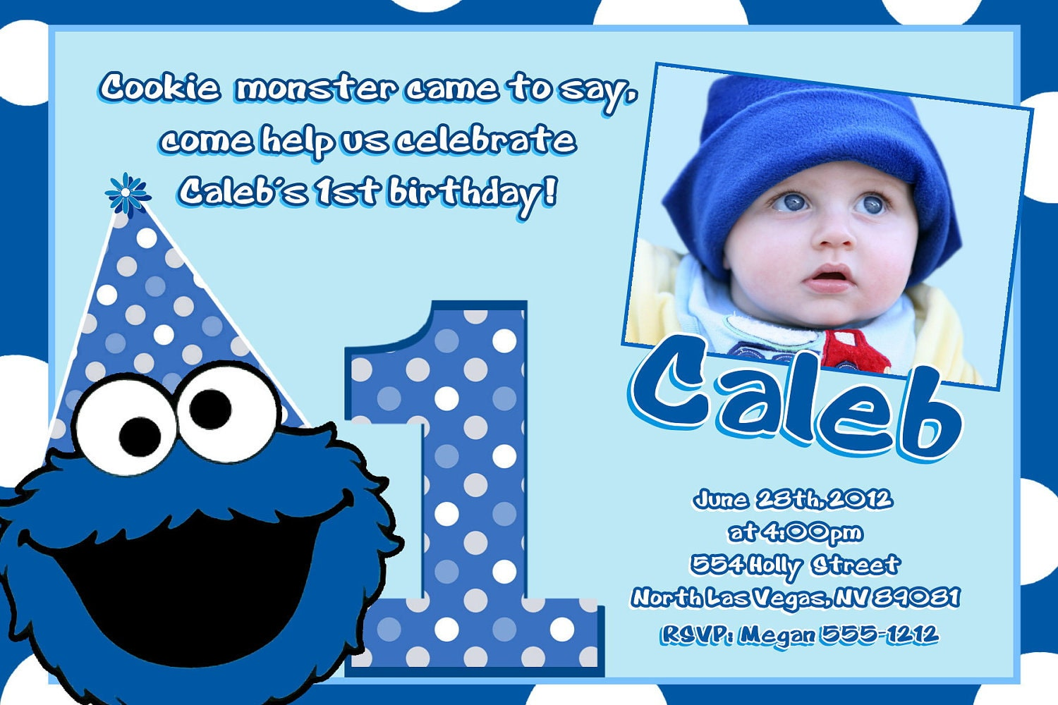 Cookie Monster Birthday Invitations and get inspiration to create nice invitation ideas