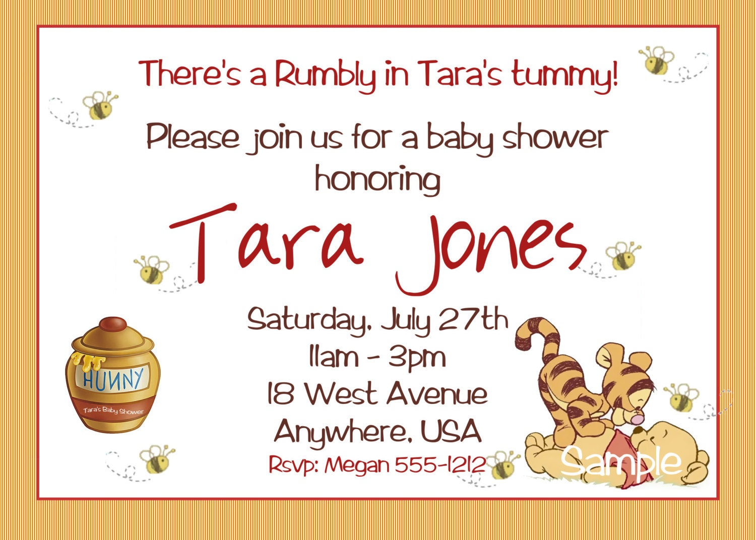 winnie the pooh birthday | etsy, Baby shower invitations