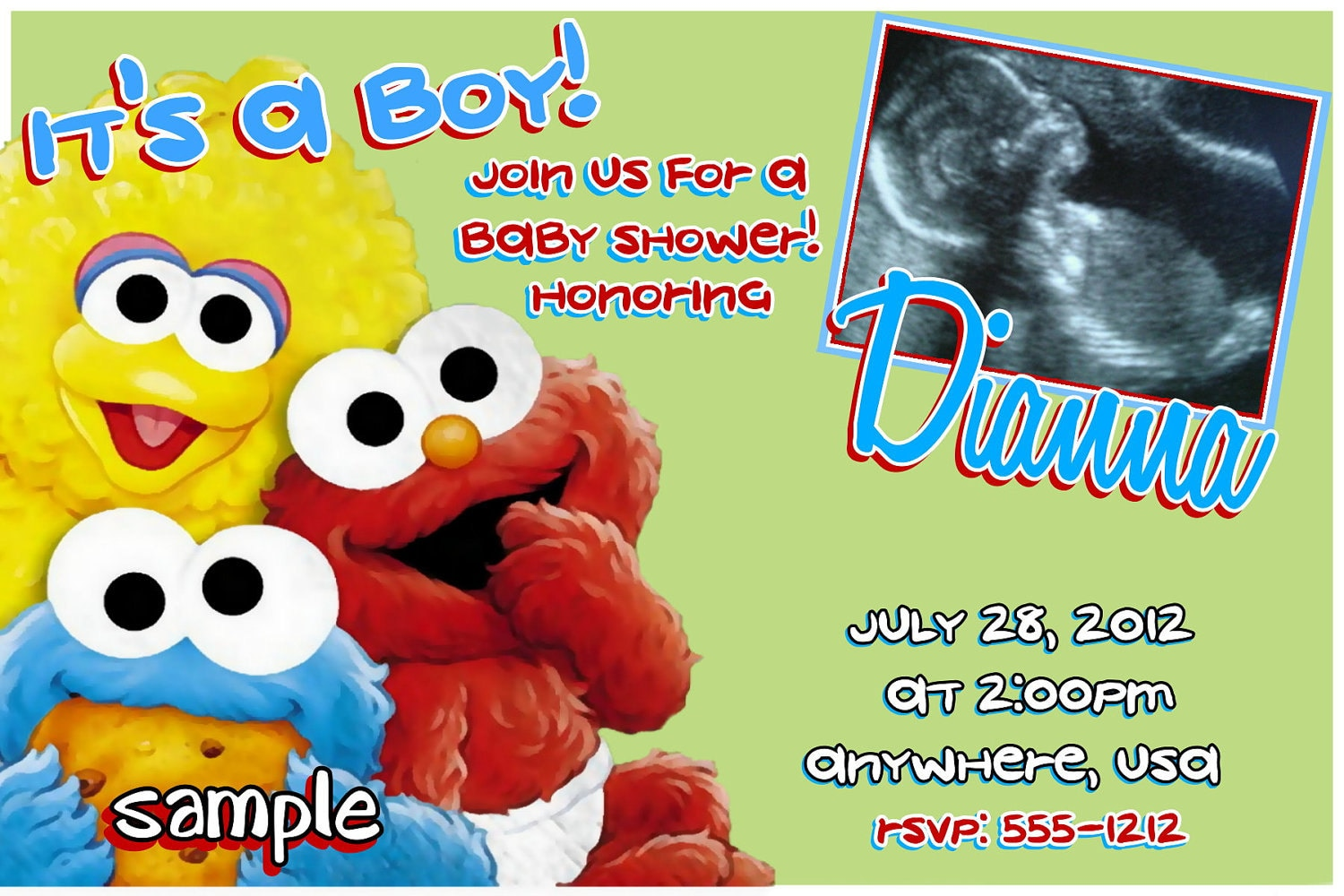 sesame street baby shower invitations