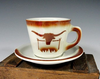 Restaurant China Cup and Saucer, Longhorn Steer, Western Restaurant Ware, Cowboy China, Airbrushed Stenciled, Sterling China, Vintage 1966