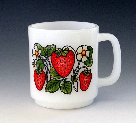 Vintage Mug 1960s Milk Glass Glasbake Retro Coffee Cup Strawberries
