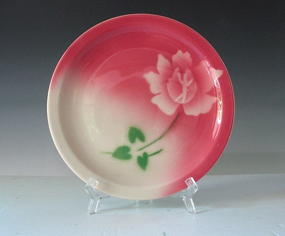 Vintage Restaurant Ware Plate Airbrushed Stenciled Syracuse China Pink  White flower 1960s