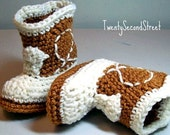 Cowboy Baby  Booties Warm Brown & Natural  Crochet Cowboy Boots