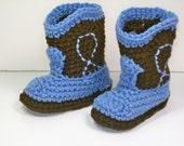 Crochet Baby Booties  Dark Brown & Blue Cowboy Booties Western Cowboy Boots