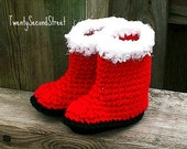 Red Fur-Trimmed Baby  Booties  Baby Shoes Boots Christmas Photo Prop