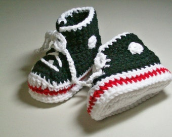 Black Hi-top Baby Sneaker Booties  Baby Shoes Slippers Converse Style Crochet