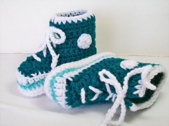 CLEARANCE Hi-top Baby Sneakers 6-12 month Size Only Teal Crochet Baby Booties Converse Style Basketball Shoes