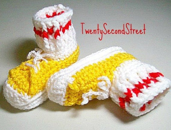 CLEARANCE Baby Booties Yellow Sneakers  Red Stripe  6 to 9 months
