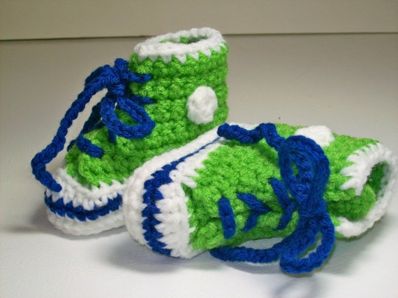 CLEARANCE Baby Booties Hi top Sneakers  Lime Green  & Royal Blue 6-12 months