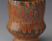 Ceramic Cup, Spotted Orange and Black Shino Yunomi