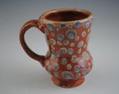 Orange Stoneware Coffee Mug with spots