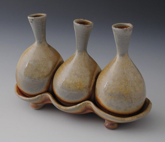 Three Bud Vase, Wood-fired with Natural Shades