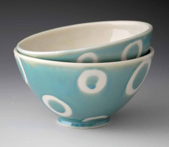 Two Porcelain Bowls, Blue Green Teal with White Circle Pattern