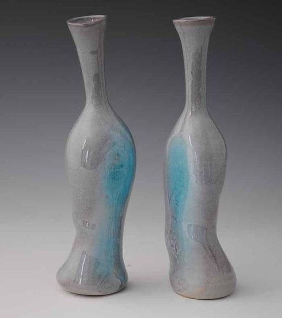 Pair of Glossy Aqua Purple Bottle Vases, Stoneware Ceramic