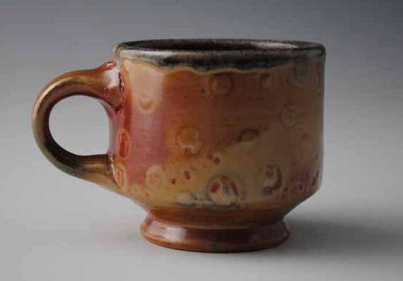 Small Footed Earthy Orange Mug with Pale Spots