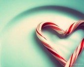 candy cane heart food photo the nicest present, cranberry red blue peppermint romantic winter holiday love christmas wedding for her under10