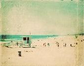 sale 25% off large wall art, beach photography, nostalgia, Hermosa Beach California lifeguard, surfer, aqua blue emerald green 24x36 print