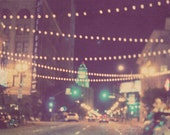 night photography, Sparkle, downtown Los Angeles dreamy bokeh streetscape, romantic twinkle sparkle lights, city hall