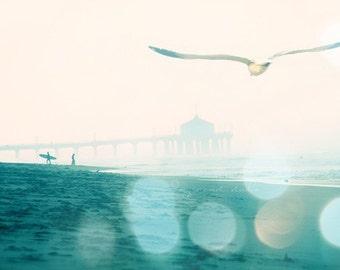 California photography, Manhattan Beach surfers photograph, dreamy seaside seagull, blue teal aqua large beach wall decor