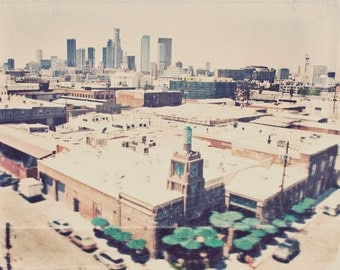 Los Angeles photography, Urth Caffe, urban landscape downtown cityscape LA skyline industrial travel, Arts District, loft decor