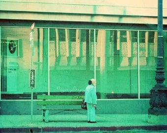 Los Angeles photography, LA photograph, go metro, Beverly Hills California vintage blue mint green retro bus stop, urban loft decor