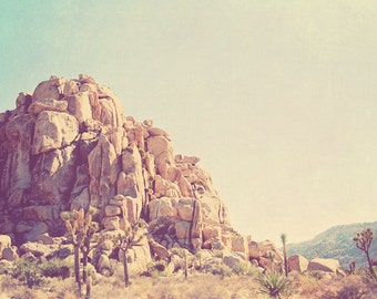 Joshua Tree photograph, Palm Springs desert, rocks, national park California travel, photography, mountain, nature, blue yellow, retro
