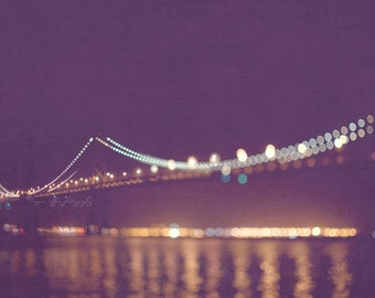 San Francisco night photography, Bay Bridge photo, rich purple plum, gold lights, dreamy bokeh sparkle twinkle, California romantic