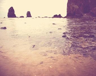 photography, Cannon Beach photograph, Haystack Rock the Needles, Oregon seaside tide pool, ocean landscape, orange peach plum beach decor