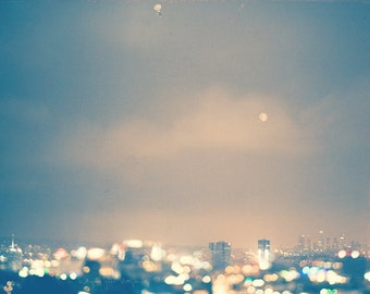 Hollywood at night, LA photography, cityscape, landscape, downtown skyline, Capitol Records, blue, sparkly bokeh print