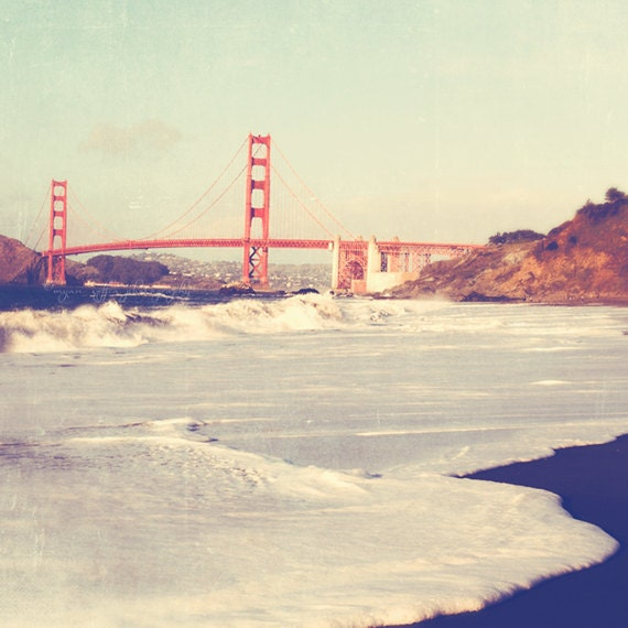 San Francisco Golden Gate Bridge photography, romantic California art, travel cherry red, beach photo of the Golden Gate, architecture print