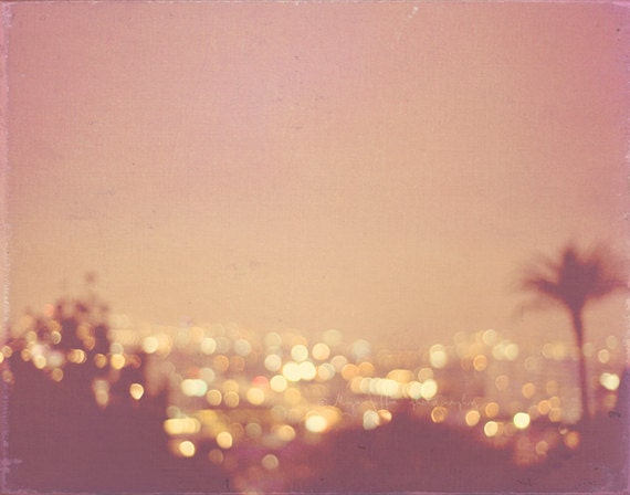night photography, photo of Los Angeles Hollywood Summer Nights peach apricot palm tree cityscape gold  bokeh lights California travel print