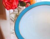 Vintage Pyrex Bowls -- Milk Glass with Blue Rims