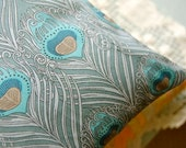 Liberty of London Buckwheat Pillow: Pale Teal Peacock Feathers