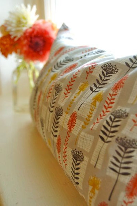 Buckwheat Pillow -- Orange and Umber-- Organic Cotton