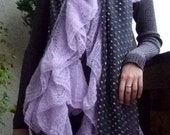 Grey voile and lilac hand knitted ruffle shawl scarf wrap