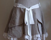 Natural organic linen petrol grey SKIRT with cargo pockets and silky ruffle urban romantic reserved for Airportt1