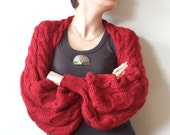 Spring fascination RICHE RUBY RED SHRUG WITH LONG PUFFY SLEEVES HAND KNITTED