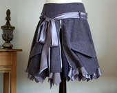 Reserved for ButtonsFourEyes GREY WITH LAVENDER TWEED SKIRT WITH CARGO POCKETS AND SATIN RUFFLE the last one from this fabric only size small