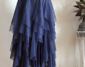 Midnight blue TULLE SKIRT  very airy with cascades of tulle layers