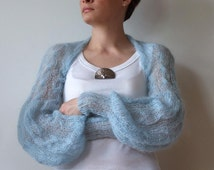 Shrug powder blue with cables light as a whisper long puffy sleeves summer fashion hand knitted