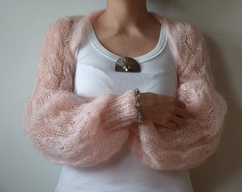 Blush pink SHRUG light as a wisper long puffy sleeves summer fashion hand knitted