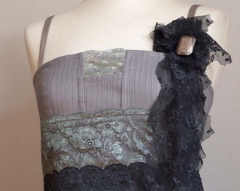 Crisp grey modern urban PENCIL DRESS and vintage lace