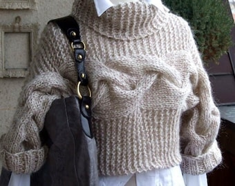 BRAIDED SHRUG modern urban in caffee latte, hand knitted shrug bolero sweater, winter fall fashion,  gift under 100 dollars